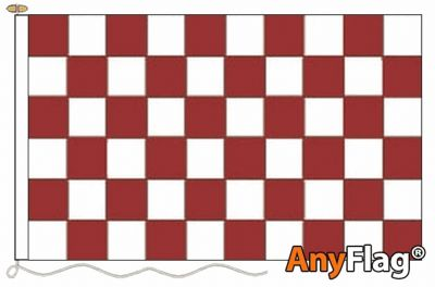MAROON AND WHITE CHECK ANYFLAG RANGE - VARIOUS SIZES